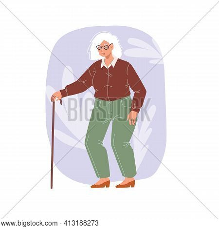 Cartoon Flat Woman Character Stands On Floral Background.elderly Stylish Grandma Standing, Posing -