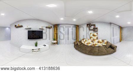 Minsk, Belarus - May 2020: Full Spherical Seamless Hdri Panorama 360 Degrees View In White Interior