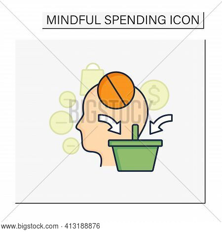 Mindless Spending Color Icon. Rash Spending Money.unplanned Purchase. Mindful Spending Concept.isola