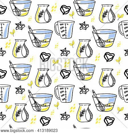 Seamless Pattern On A White Background. Kitchen Utensils Elements: Measuring Jug, Bowl And Bakeware.
