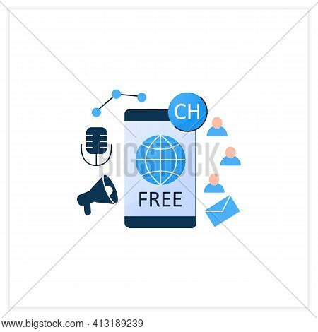 Free Application Flat Icon. Chatting For Everyone. Public App. Global Social Media. Communication Co