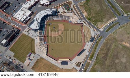 March 05, 2021 - Kannapolis, North Carolina, USA: Atrium Health Ballpark is a baseball stadium in Kannapolis, North Carolina and is home for the Kannapolis Cannon Ballers.