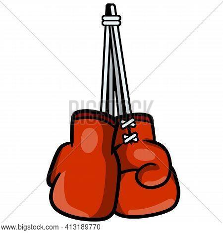 Boxing Glove. Red Elements Of Sportswear. Fist Fight. Cartoon Drawn Illustration. Sport Equipment. F