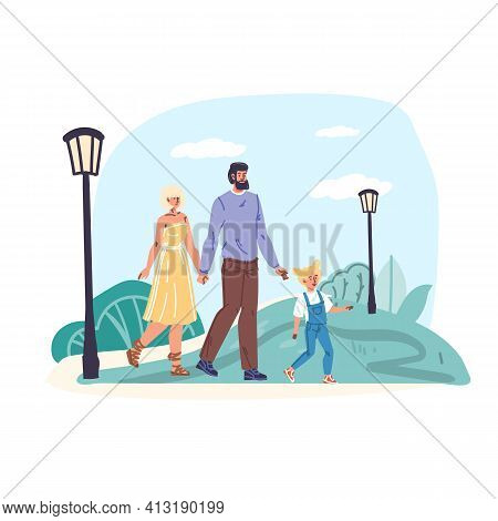 Cartoon Flat Happy Family Characters Parents Walking.young People Couple Mom Dad And Kid Walks Outdo