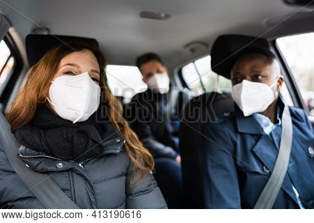 Carpool Ride Share. Friends Enjoy Taxi In Face Mask