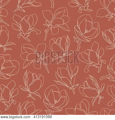 Seamless Pattern With Magnolia Flowers. Modern Minimalistic Style, Beige Line Blooming Buds On Branc