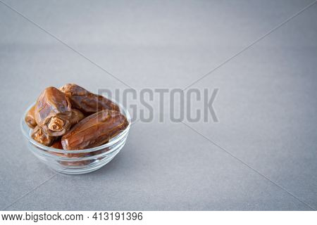 Dates Inside The Plate. Dates In Bowl. Ramadan Background. Islamic Culture And Ramadan. Date Photo L