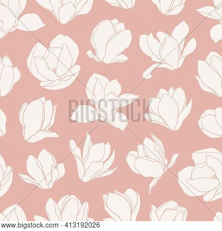 Seamless Pattern With Magnolia Flowers. Modern Minimalistic Style, Beige Blooming Buds On An Pink Ba