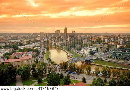 Beautiful Summer Panorama Of Vilnius Old Town Taken From The Gediminas Hill. Nice Sunny Sunset In Li