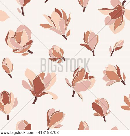 Seamless Pattern With Magnolia Flowers. Modern Minimalistic Style, Blooming Buds On A Beige Backgrou