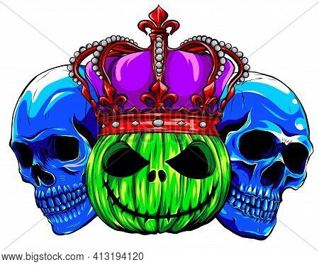 Colored Skulls With Pumpkid And Crown Vector