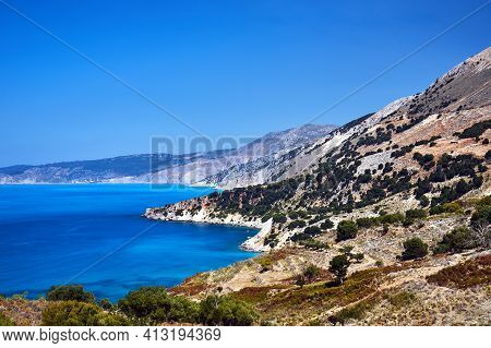 Rocky Coast On The Island Of Kefalonia In Greece