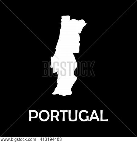 Flags Map Portugal Vector Illustration. Europe Mainland.