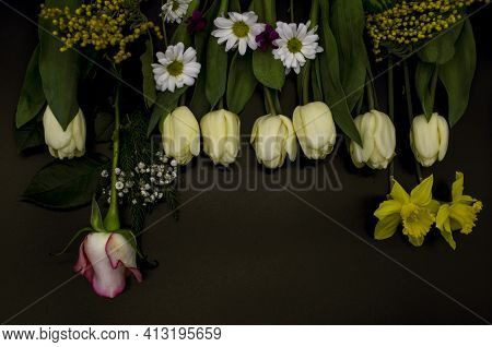 Group Of White Tulips,daffodils, Gypsophila,sprigs Of Mimosa,one Rosebud, Small Asters And Cyclamens