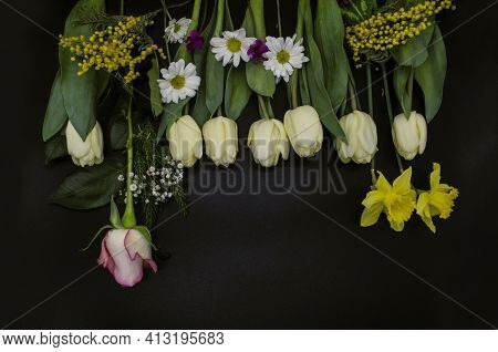 Spring Flowers, White Tulips, Yellow Daffodils, Gypsophiles, Mimosa Twigs, One Rosebud, Small Asters
