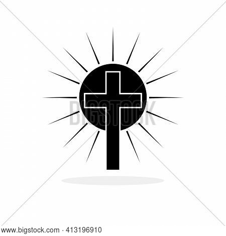 Christian Cross With Sun Rays. Christian Cross Icon. Black Religion Symbol. Vector Illustration. Rel