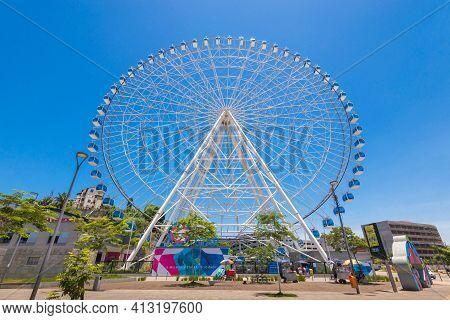 Rio De Janeiro, Brazil - January 18, 2021: Rio Star Ferris Wheel In Revitalized Part Of The City Is