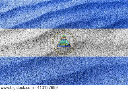 Nicaragua Sand Flag, National Flag Sand Background