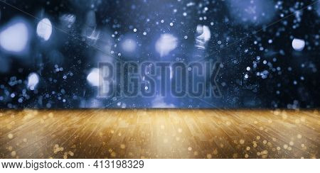 3d Illustration Bokeh With An Empty Wooden Table For Displaying The Product Product Display Product