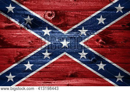 Confederate Flag On Wooden Planks Background Wood Flag