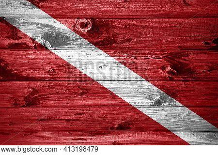 Diver Down Flag On Wooden Planks Background, Wood Flag