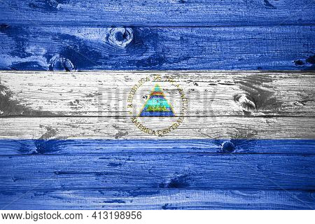 Nicaragua Flag On Wooden Planks Background Wood Flag