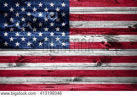 United States Flag On Wooden Planks Background Wood Flag