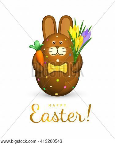 Happy Easter Greeting Card. Easter Egg In The Shape Of A Cute Chocolate Bunny. Brown Rabbit Figurine