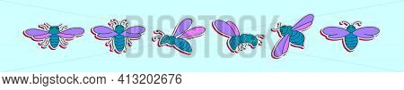 Set Of Hornet Cartoon Icon Design Template With Various Models. Modern Vector Illustration Isolated