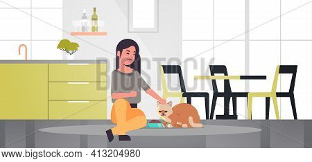 Woman Feeding Hungry Cat Girl Giving Her Kitty Dry Food Granules Domestic Life With Pet Concept Mode