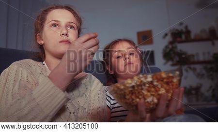 Stay Home Quarantine. Family - Children Eat Popcorn Watching Tv. Kid Dream Together Coronavirus Conc