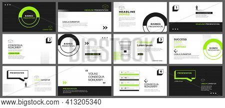 Presentation And Slide Layout Background. Design Green And Black Geometric Template. Use For Busines