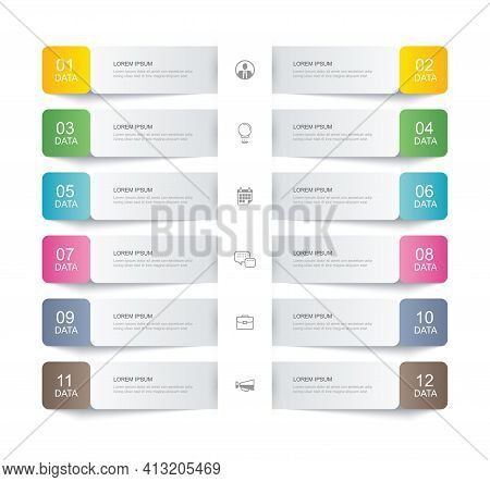 12 Data Infographics Tab Paper Thin Line Index Template. Vector Illustration Abstract Background. Ca