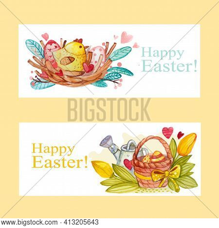 Easter Poster With Hand Made Trendy Lettering Happy Easter And Golden Paschal Symbols In Sketch Styl