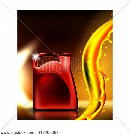 Car Engine Lubrication Oil Promo Poster Vector