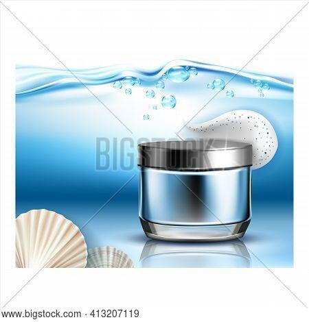 Scrub Body Therapy Cosmetic Promo Banner Vector