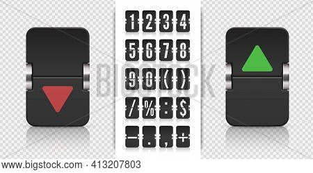 Flip Number And Symbol Scoreboard. Analog Flip Airport Board For Countdown Timer. Stock Exchange Vec