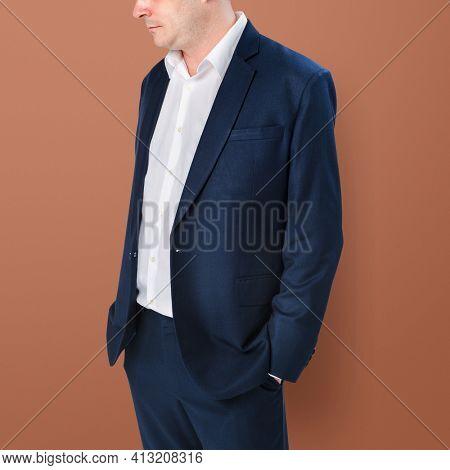 Businessman wearing a formal black suit