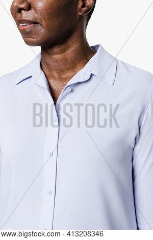 African American woman wearing blue long-sleeve shirt