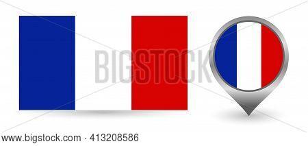 Vector Flag France. Location Point With Flag France Inside.