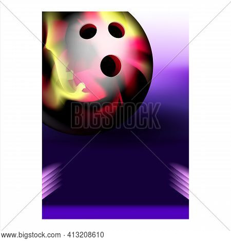 Bowling Ball For Hitting Candlepin Banner Vector
