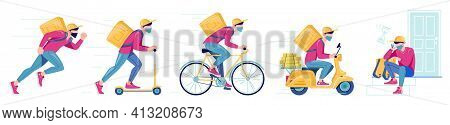 Set Of Delivery Methods For Goods, Food.
