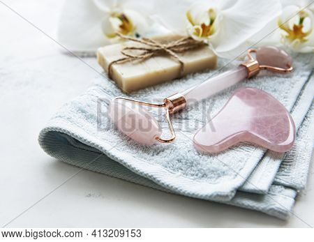 Natural Skincare And Spa Products With Handmade Natural Soap, Jade Face Roller And Cotton Towel Clos