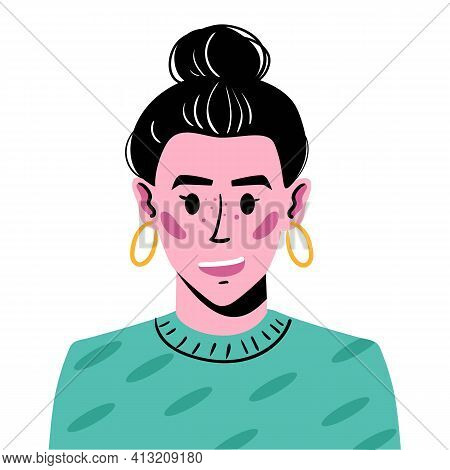 Portrait Of A Young Girl With Hair Gathered In A Bump. Avatar Illustration Of A Smiling Girl In A Gr