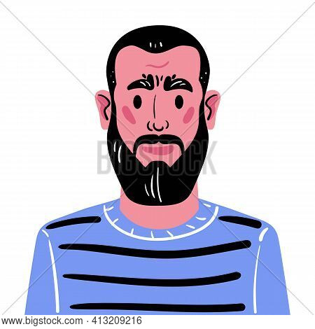 Portrait Of A Middle-aged Man With A Beard And Dark Hair. Illustration Of A Man Avatar In A Blue Swe