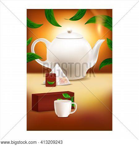 Ceylon Tea Creative Advertising Poster Vector Illustration