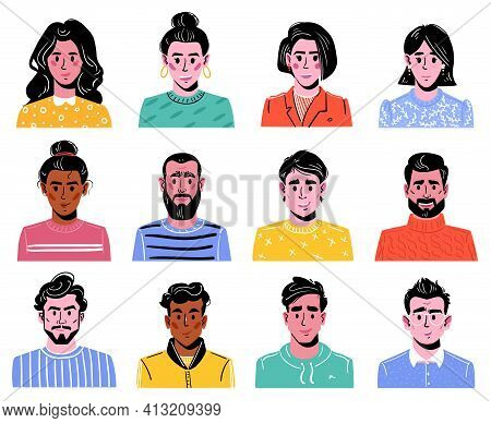 Big Set Of Various Heads Of Boys And Girls. Men And Women, Colorful Characters. Various Clothes And