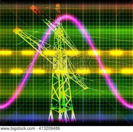 Texture Wave Oscilloscope Power Line Tower Symbol Background