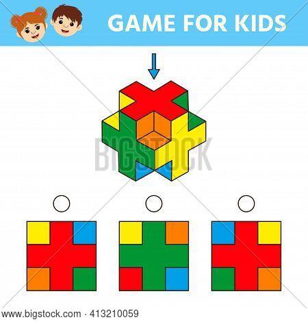 Education Logic Game For Kids Development Of Logic Iq. Kids Activity Sheet. Find The Shape Matching