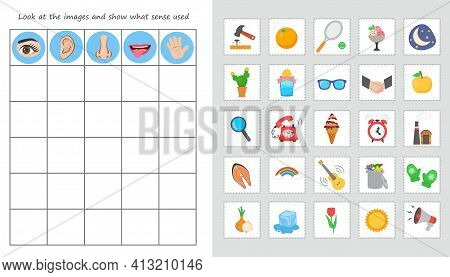 Educational Worksheet For Kids. Game For Kids. Match Of Senses Organs And Objects. Hearing, Vision,